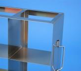 CellBox Maxi  Schrankgestell 5x3 Fächer für 15 Kryoboxen bis 148x148x128 mm Klappgriff, offene Bauform